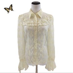 Stunning vintage lace prairie ruffled blouse